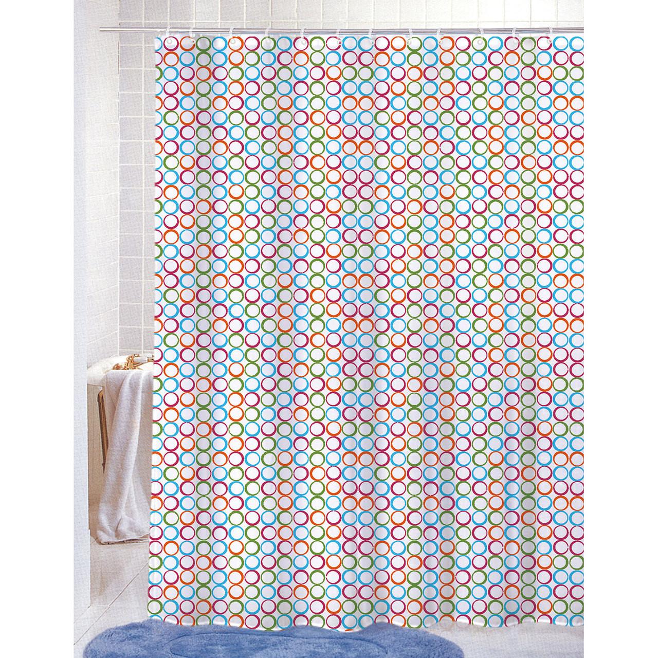 Printed Shower Curtain Pvc Free Peva Colorful Geometric Circles