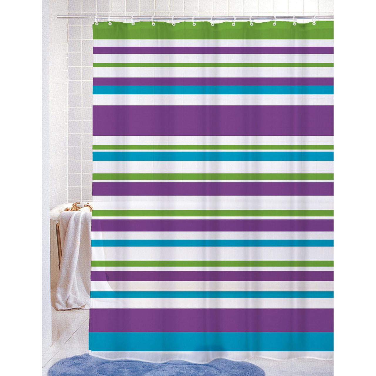 Pvc Free Peva Printed Shower Curtain Colorful Strata Stripes Print 70x72 Elyssa