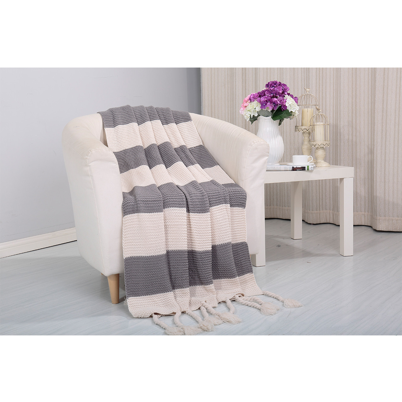 Vintage Knitted Throw Couch Cover Sofa Blanket 50x60