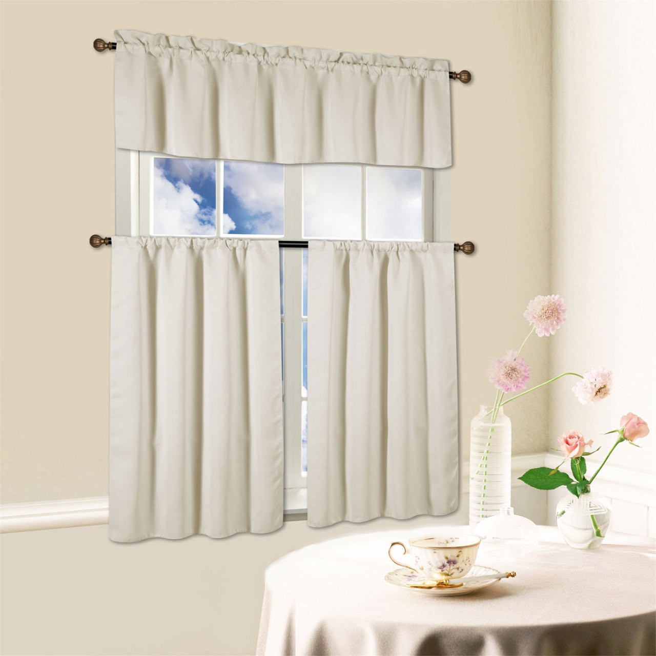 Beth 3 Piece Energy Efficient Blackout Window Kitchen Curtain Set