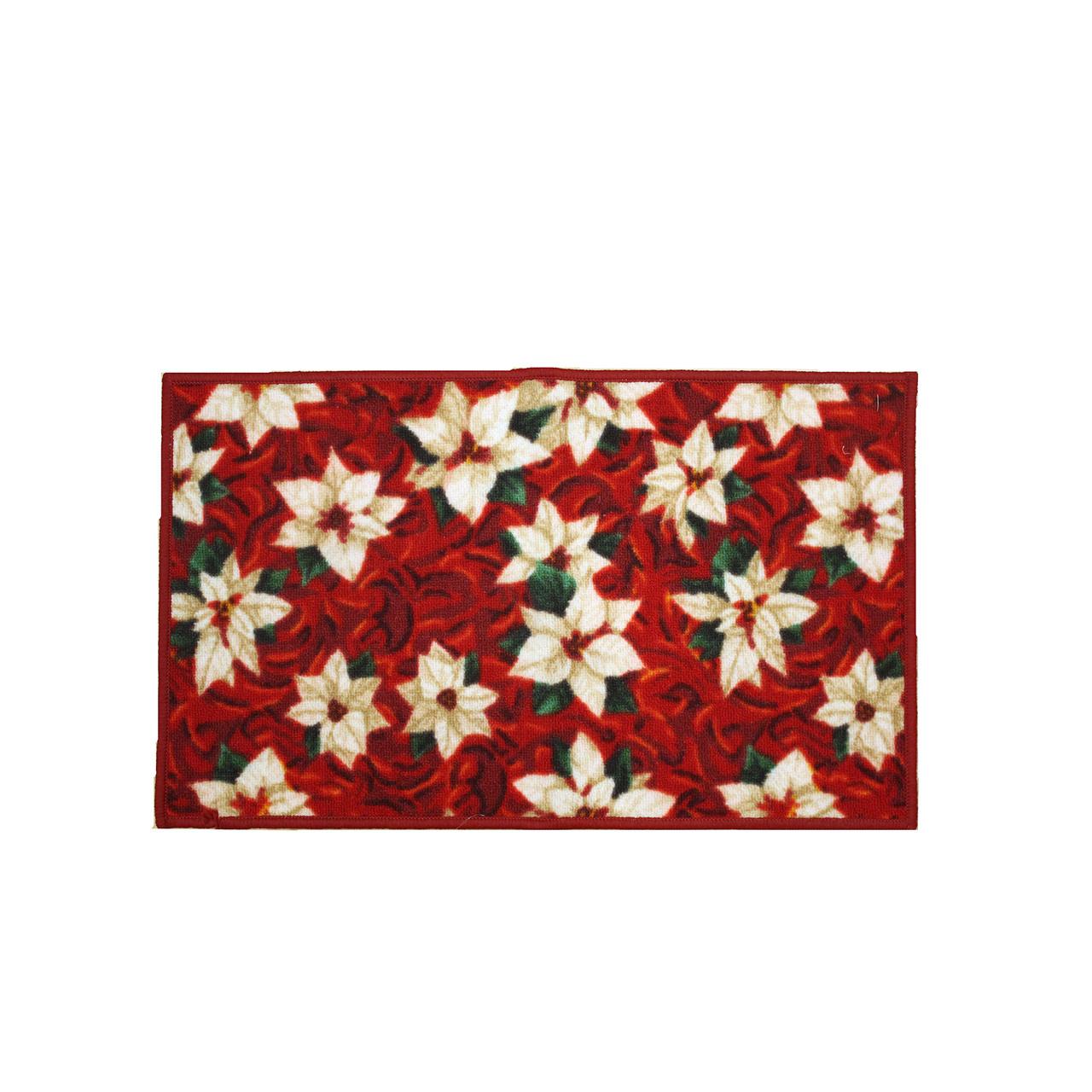 Christmas Kitchen Rug Decor Mat White Poinsettia 18 X30