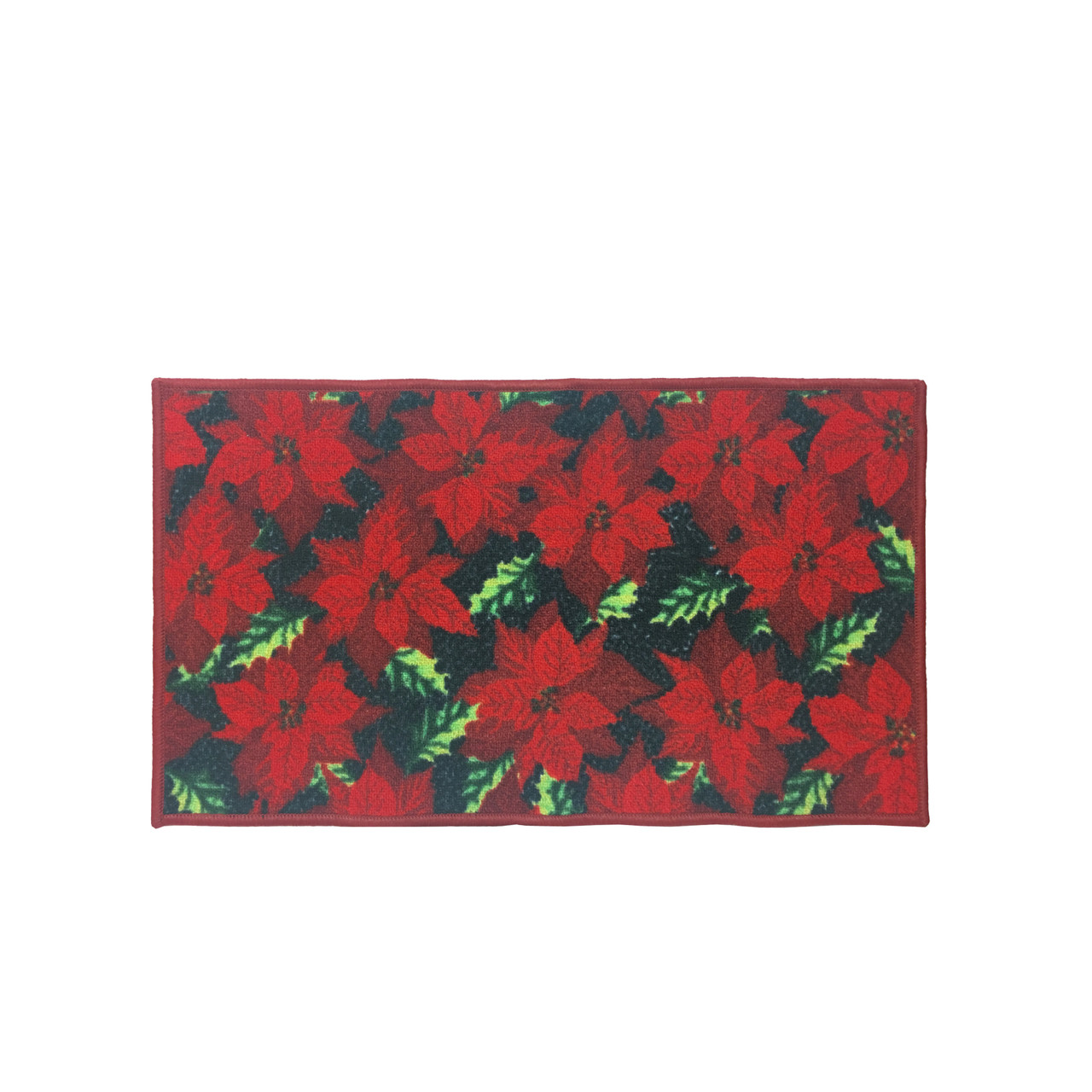 Christmas Kitchen Rug, Decor Mat, Red Poinsettia - 18\