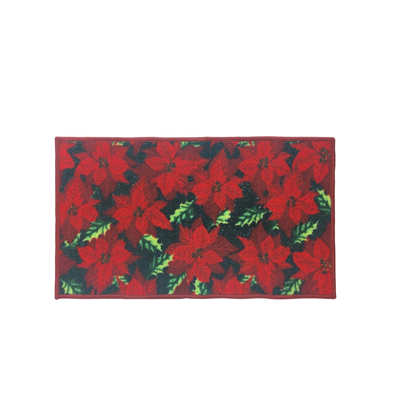 Christmas Kitchen Rug Decor Mat Red Poinsettia 18 X30 Rectangular