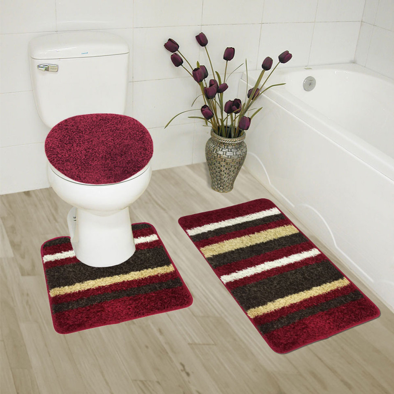 attractive 3 Piece Bath Rug Part - 13: Abby 3 Piece Bathroom Rug Set, Bath Rug, Contour Rug, Lid Cover,