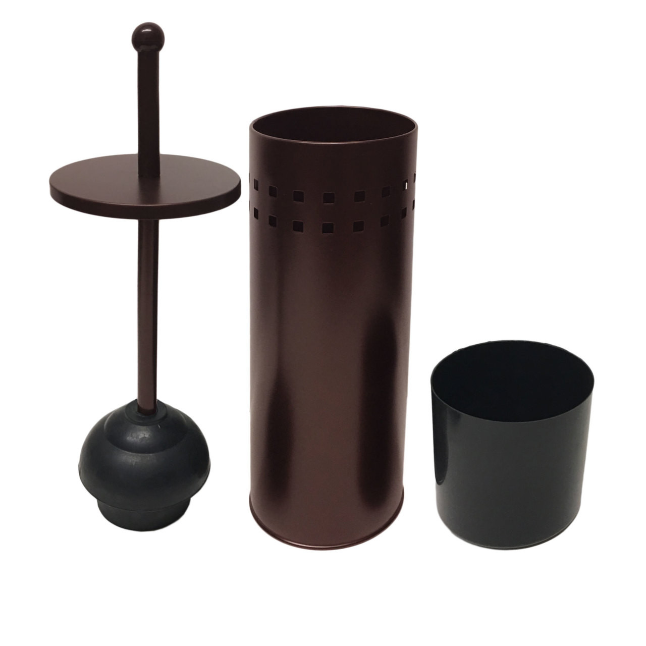 Brown Powder Coated Toilet Plunger & Holder