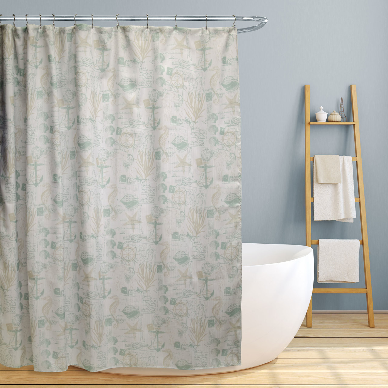 Shower Curtain Fabric Canvas 70 X70 Jamie Fun Nautical Design