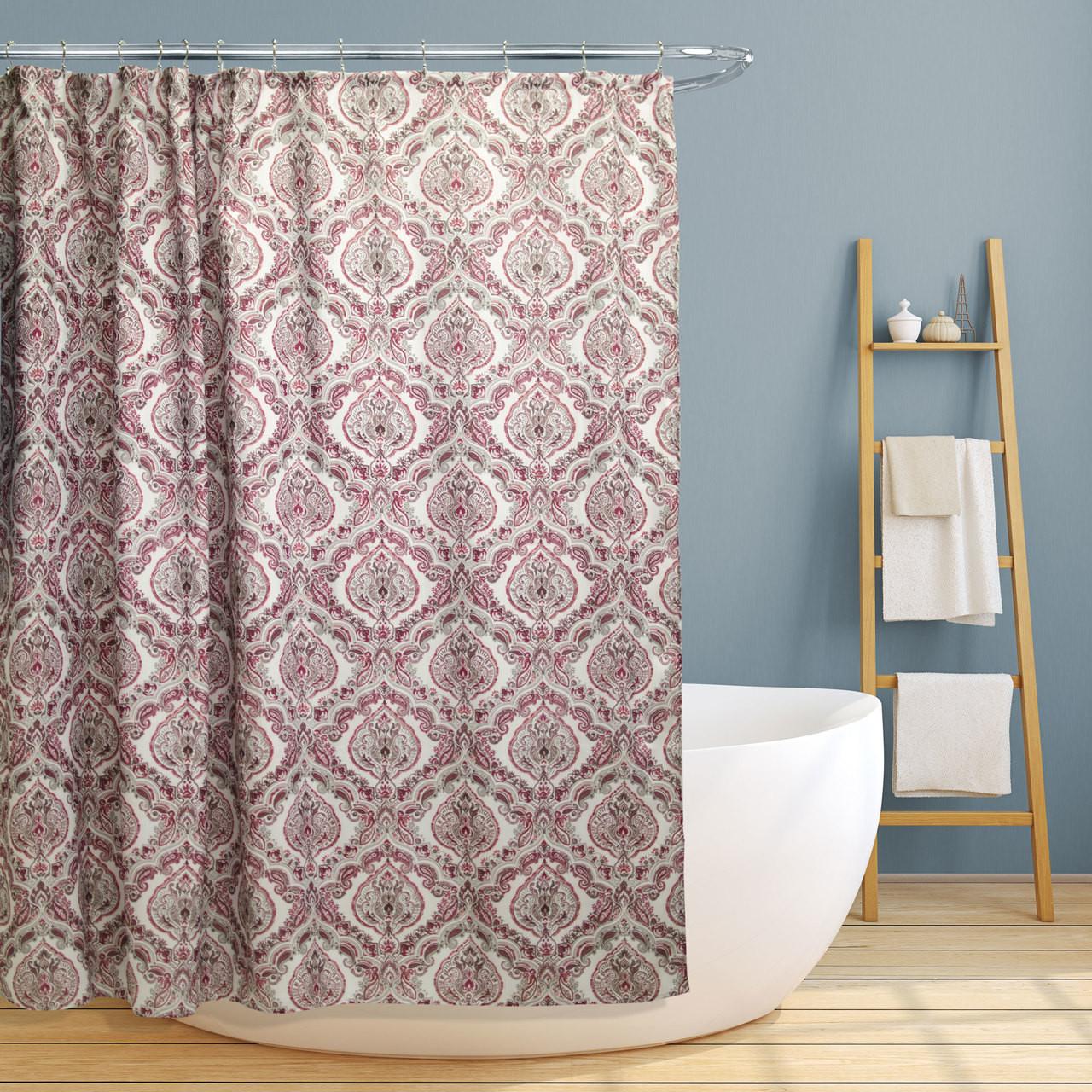 Fabric Canvas Shower Curtain 70 X70 Rose Burgundy Paisley Damask Design