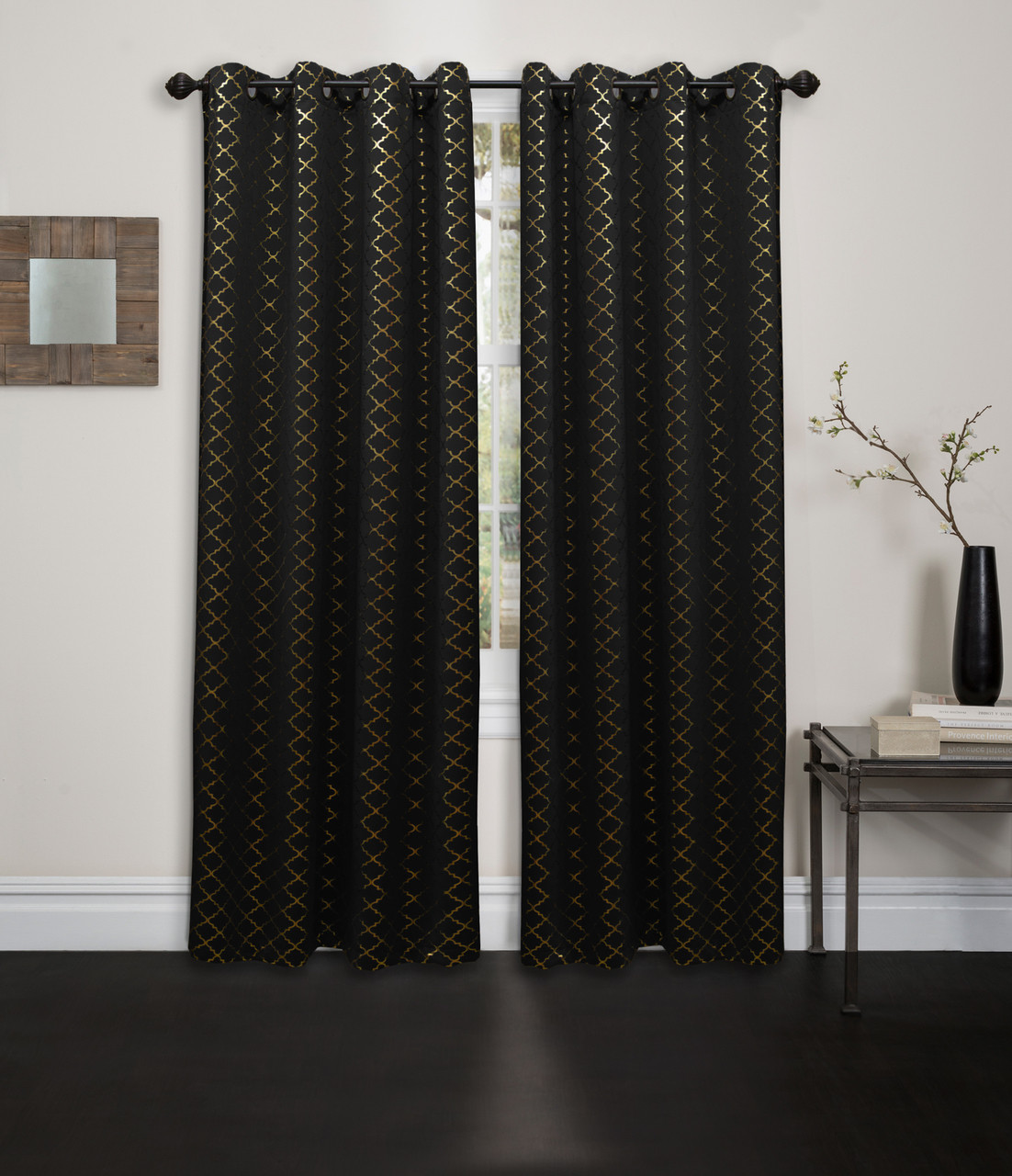 Living Room Blackout Curtain Panel Abstract Foil Printed 54 X84
