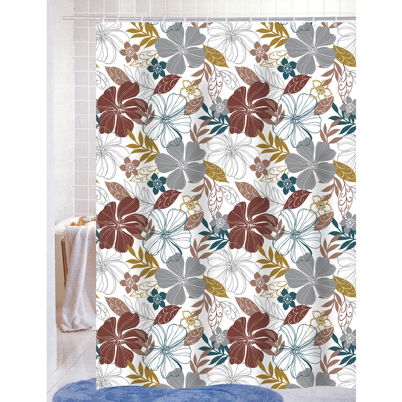 Mia PEVA Vinyl 70x72 Shower Curtain With Matching Metal Hooks Floral Print K