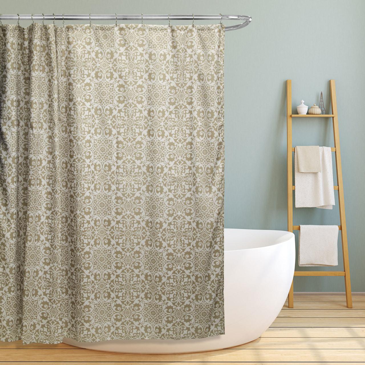 Linen Store Fabric Canvas Shower Curtain 70 X70 Lori Floral Scroll Geometric Design