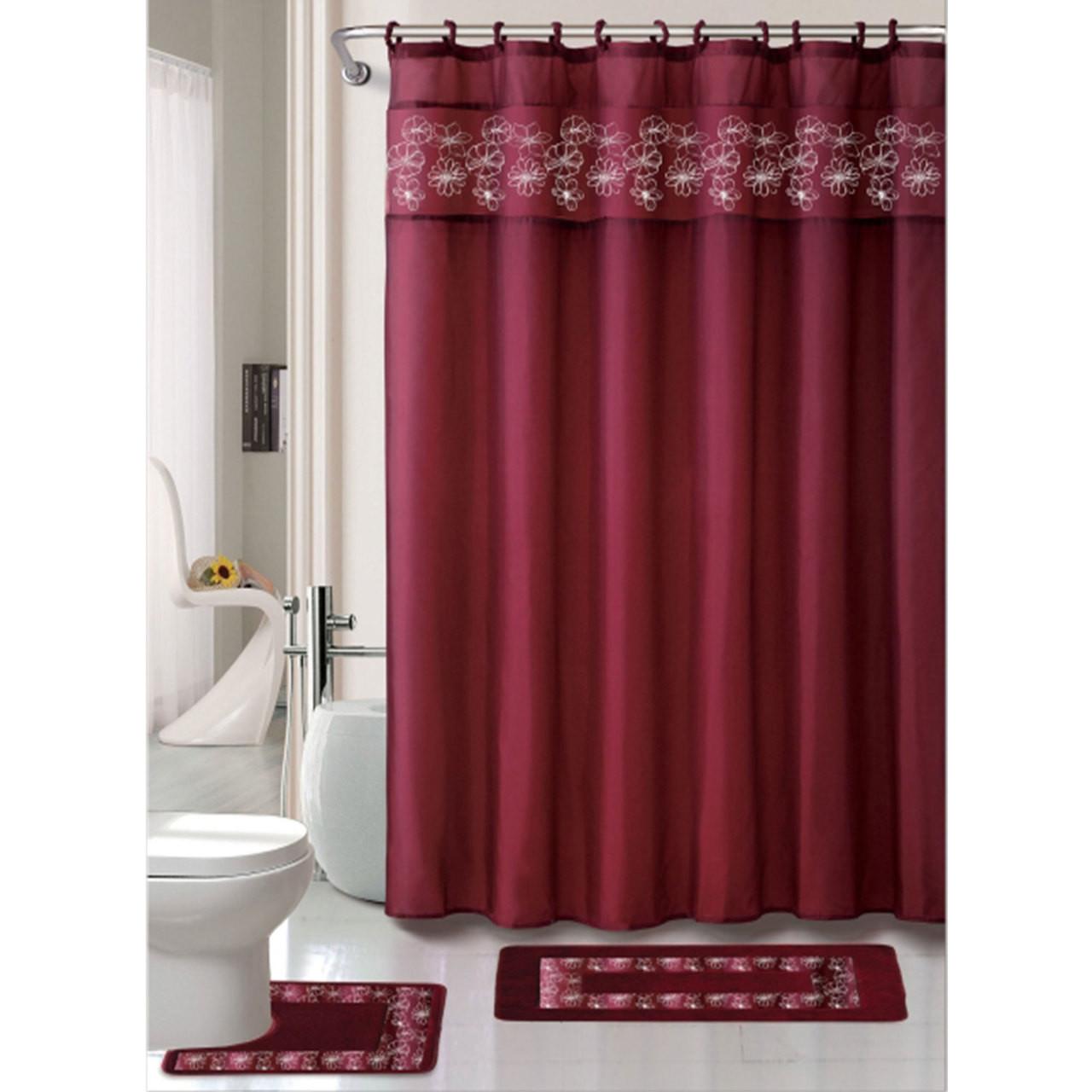 15 Pc Bathroom Accessories Set Bath Mat Contour Rug Shower