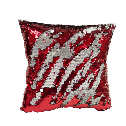 Decorative Sequin Throw Pillow 17x17 Inch, Comfortable Fill For Living Room, Couch, Bedroom, Fun Mermaid Reversible Style Red / Gray (K-PT057814)