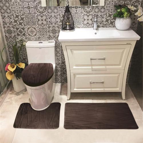Connie Embossed Foam Plush 3pc Microfiber Bathroom Rug Set Bath Mat Contour Rug Universal Lid Cover Great Absobent With Anti Slip Pvc Mesh
