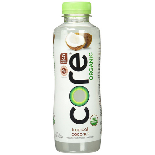 Core Organic Fruit Infused Beverage, Tropical Coconut, 18 Ounce (Pack of 12)