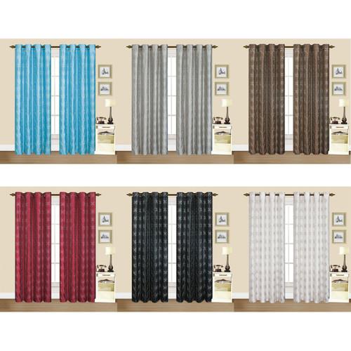 "Dana Faux Silk 55""x84"" Grommet Geometric Embroidery Decorative Window Curtain Panel, Set of 2 Panels"