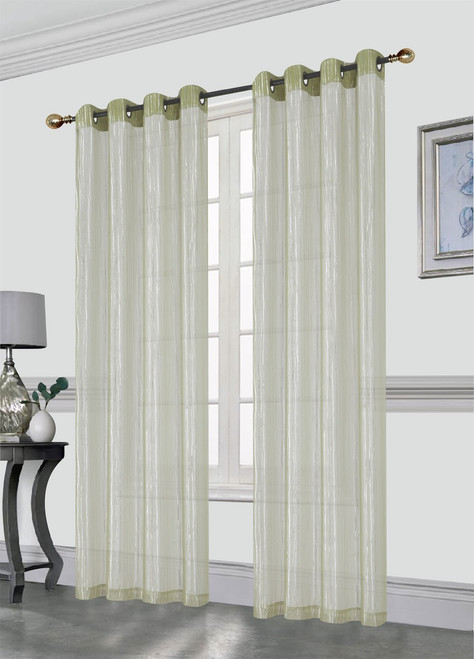 Kashi Home Sasha Decorative Foil Printed Sheer Window Curtain Panel With Metal Grommets, 54x84 Inch, 2 Pack …
