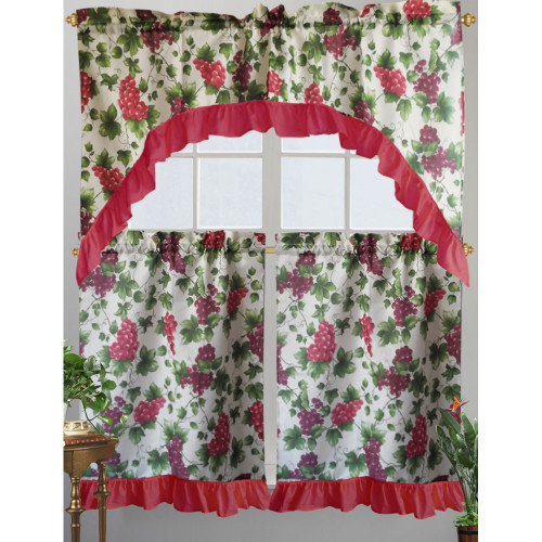 Kashi Home Paula Kitchen Curtain Swag Set, Grape & Vine Printed Design