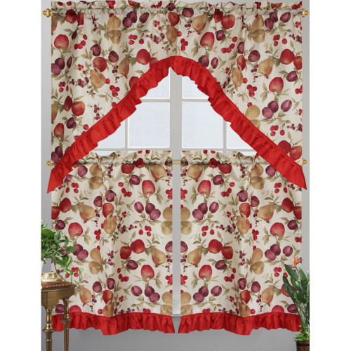 Kashi Home Diana Kitchen Curtain Swag Set, Apple, Plum, Pear & Cherry Printed Design