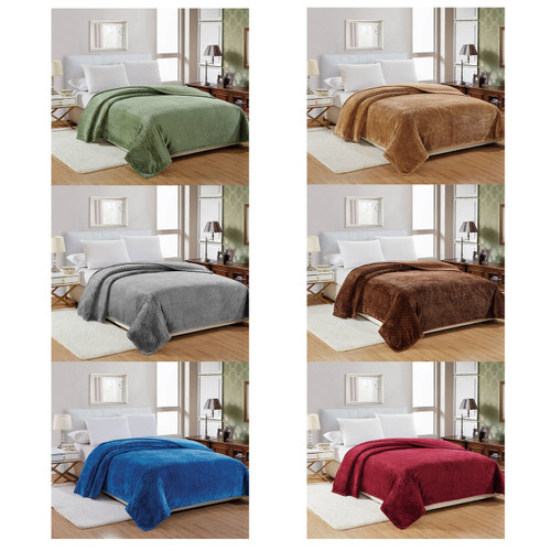 Noble House Microplush Popcorn Solid Blanket, 4 Sizes, Solid Colors