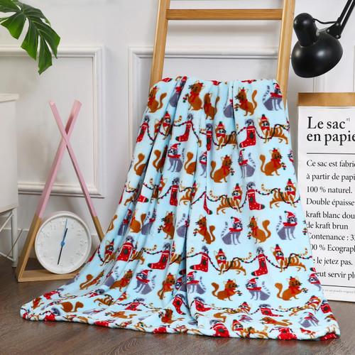 Holiday Christmas Throw Blanket, Soft & Plush, 50x60, Christmas Cats