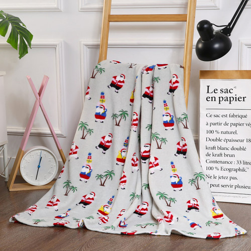 Holiday Christmas Throw Blanket, Soft & Plush, 50x60, Beach Tropical Santa