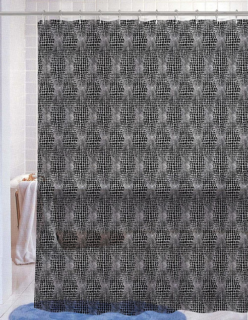 Kashi Home Nora Black PEVA Shower Curtain 70X72