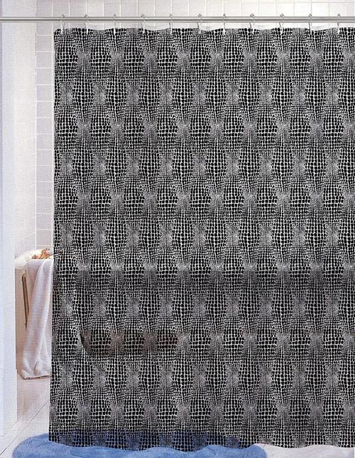 Kashi Home Nora Black PEVA Shower Curtain 70X72