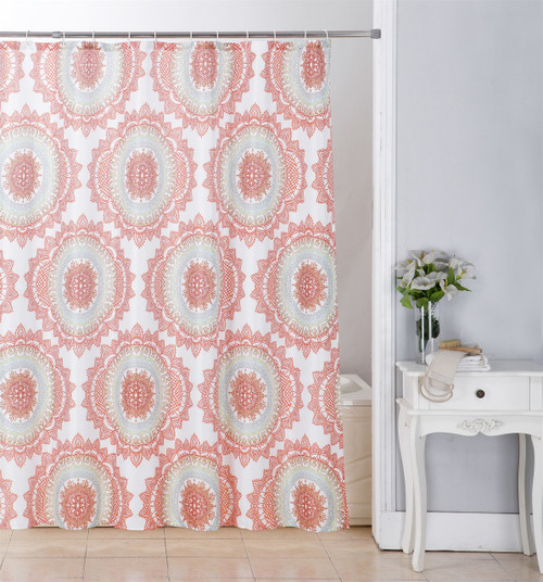 Kashi Home Sofia 70x70 Canvas Shower Curtain, Large Medallion Printed Design