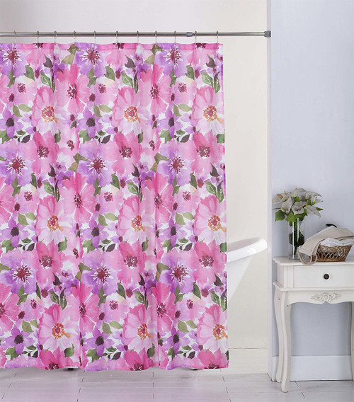 Kashi Home Hibiscus 13pc Canvas Shower Curtain & Roller Hooks Set
