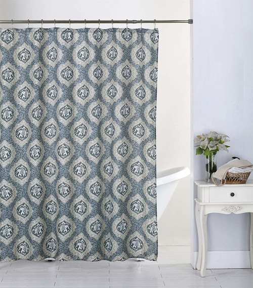 Kashi Home Sonnie 13pc Canvas Shower Curtain & Roller Hooks Set (K-SC063310)