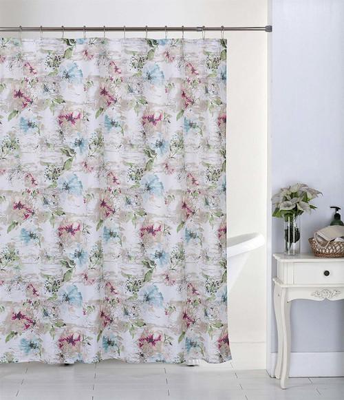 Kashi Home June 13pc Canvas Shower Curtain & Roller Hooks Set (K-SC068360)