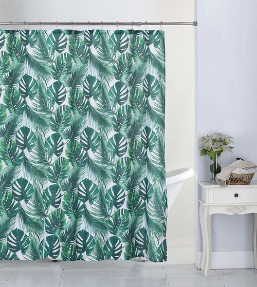 Kashi Home Tropical 13pc Canvas Shower Curtain & Roller Hooks Set (K-SC063297)