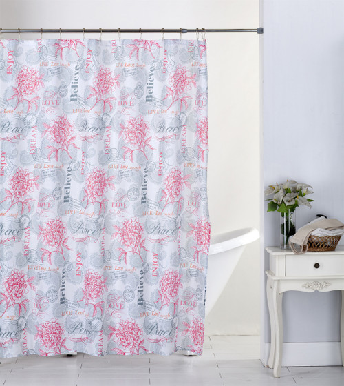 Kashi Home Paisley Dream 13pc Canvas Shower Curtain & Roller Hooks Set