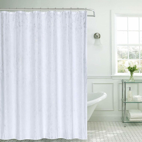 Microfiber Fabric Shower Curtain with Hooks, 13pc Bath Set, 70x70 Jessica White (K-SC068599)