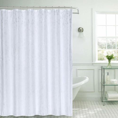 Microfiber Fabric Shower Curtain with Hooks, 13pc Bath Set, 70x70 Jessica White (K-SC068599)