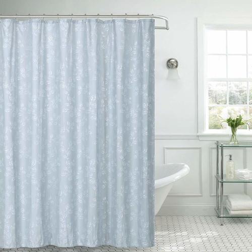 "Kashi Home Jessica Microfiber Fabric Shower Curtain Metal Roller Hooks, 13pc Bath Set, Silver Leaves Foil Printed Design, 70""x70"", Grey"