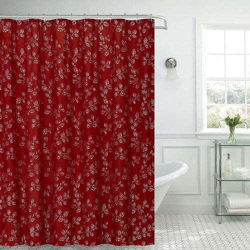 "Kashi Home Jessica Microfiber Fabric Shower Curtain Metal Roller Hooks, 13pc Bath Set, Silver Leaves Foil Printed Design, 70""x70"", Burgundy"