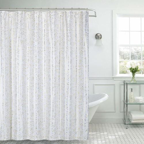 "Kashi Home Kendall Microfiber Fabric Shower Curtain Metal Roller Hooks, 13pc Bath Set, Gold Foil Decorative Printed Design, 70""x70"", White"