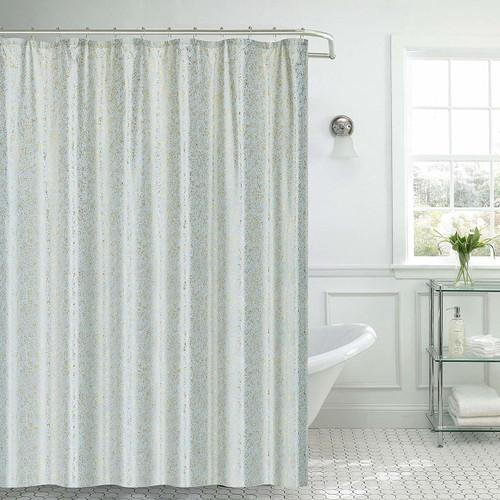 "Kashi Home Kendall Microfiber Fabric Shower Curtain Metal Roller Hooks, 13pc Bath Set, Gold Foil Decorative Printed Design, 70""x70"", Grey"