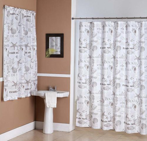 Kashi Home Seaside 14 Piece Bathroom Accessories Set, Canvas Shower Curtain, Hooks, Bathroom Window Curtain, Beach Life Inspired Print