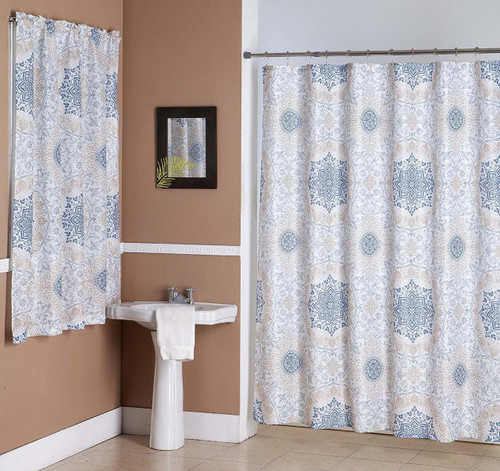Kashi Home Jenna 14 Piece Bathroom Accessories Set, Canvas Shower Curtain, Hooks, Bathroom Window Curtain, Floral Scroll Medallion Print
