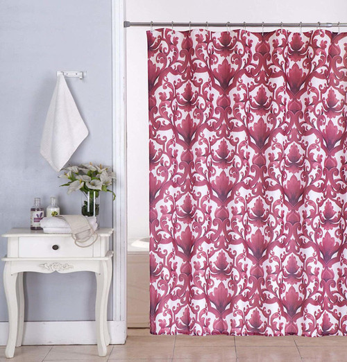 Kashi Home Ariel 70x70 Inch Canvas Fabric Shower Curtain, Scroll Damask Print, Burgundy