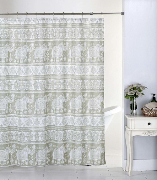 Kashi Home Hazel 70x70 Inch Canvas Fabric Shower Curtain, Bohemian Elephant Inspired Print