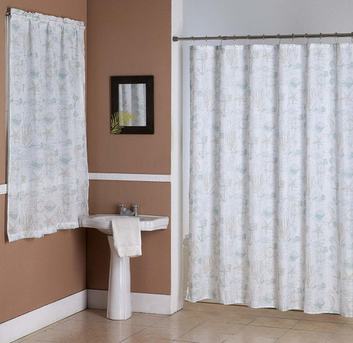 Kashi Home Jamie 14 Piece Bathroom Accessories Set, Canvas Shower Curtain, Hooks, Bathroom Window Curtain, Nautical Inspired Print