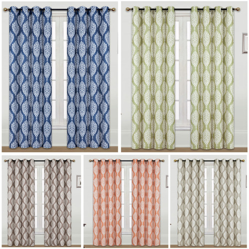 Kashi Home Set of 2 Scarlett 54x84 Inch Window Curtain with Grommets, Weave Fabric Decorative Damask Print Panel for Living Room, Bedroom
