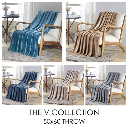 Soft Plush Contemporary Embossed Pattern The V Collection 50x60 Flannel Throw Blanket