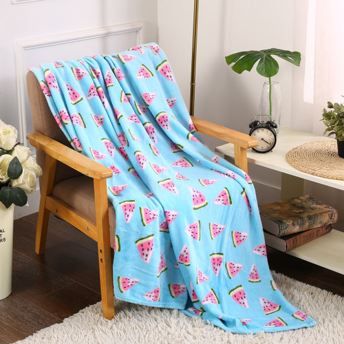 Printed Throw Blanket, Soft & Plush, 50x60, Watermelon (PL-BLKT50X60-WM)
