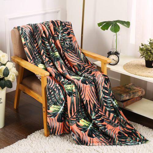 Printed Throw Blanket, Soft & Plush, 50x60, Leaf