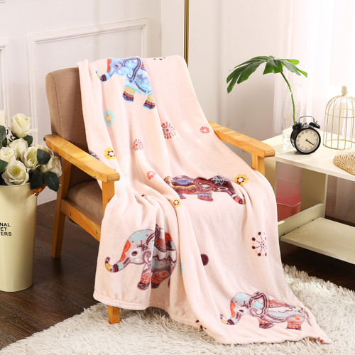 Printed Throw Blanket, Soft & Plush, 50x60, Boho Elephant (PL-BLKT50X60-BELEP)