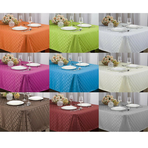 Kashi Home Harriet Jacquard Tablecloth 52x70, 60x84, 60x102, 70 Round